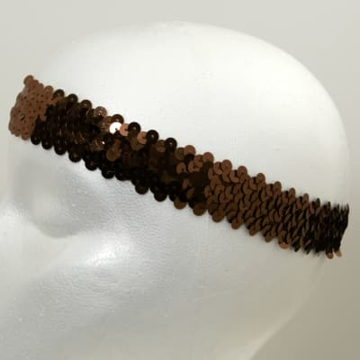 "1 1/4"" Metallic Stretch Sequin Headband  Brown"