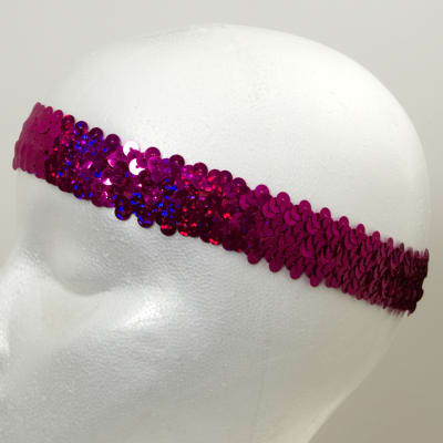 "1 1/4"" Hologram Stretch Sequin Headband  Fuchsia"