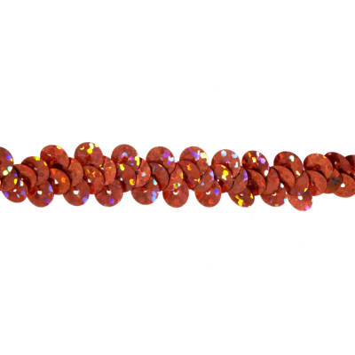 "3/8"" Hologram Stretch Sequin Trim Orange"