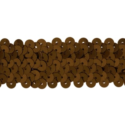 "1 1/4"" Metallic Stretch Sequin Trim Brown"