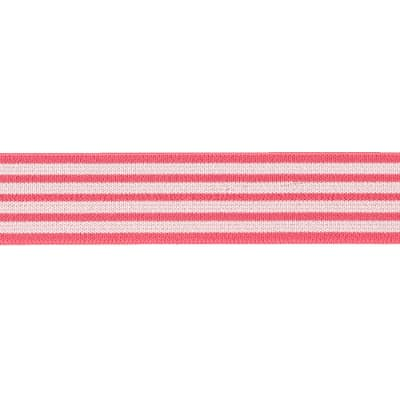 "1""X1 Fold-Over Elastic-Coral/Tan -Stripe"