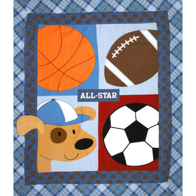"Little Allstar Flannel Quilt Top 38"" Panel Blue"