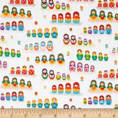Timeless Treasures Russian Dolls White