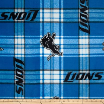 NFL Detroit Lions Plaid Fleece Blue/White