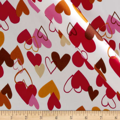 Kaufman Silky Satin Heart 2 Heart Red/Gold