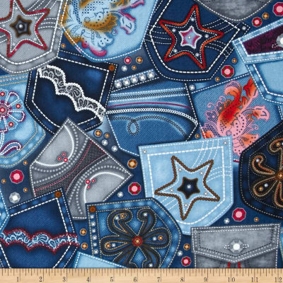 Diamonds & Denim Pocket Patchwork Blue