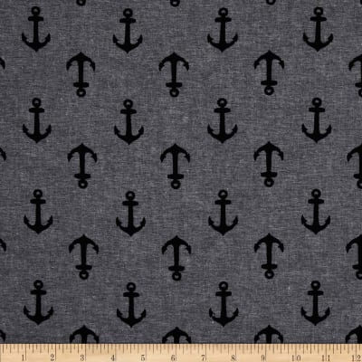 Kaufman Nautique Chambray Prints Black