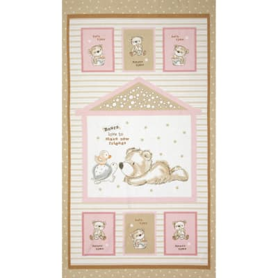 Bears and Buddies Flannel Panel Pink
