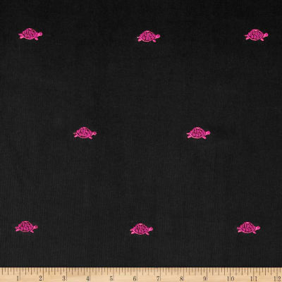 Embroidered 21 Wale Corduroy Turtle Black/Pink