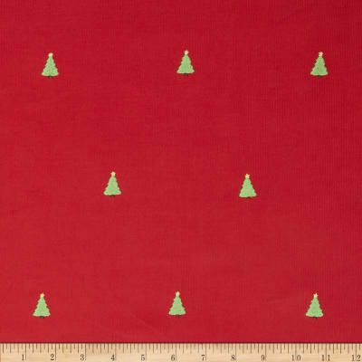 Embroidered 21 Wale Corduroy Tree Red/Green