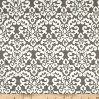Shannon Minky Cuddle Damask Charcoal/Snow