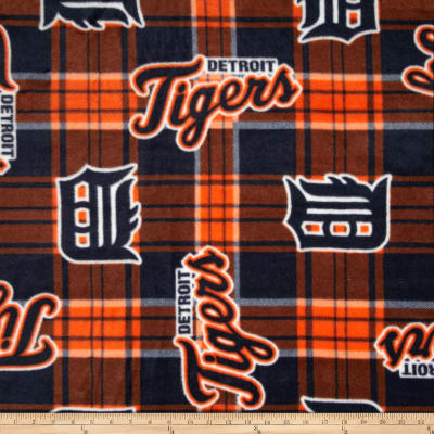 MLB Fleece Detroit Tigers Plaid Blue/Orange
