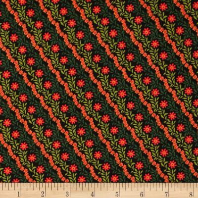 Flowers on Diagonal Black/Red/Green