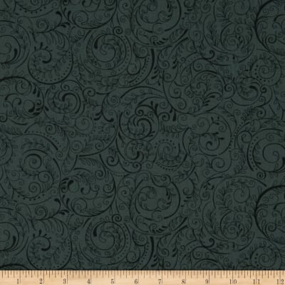 "Charleston 108"" Wide Quilt Backing Swirly Vine Carbon"