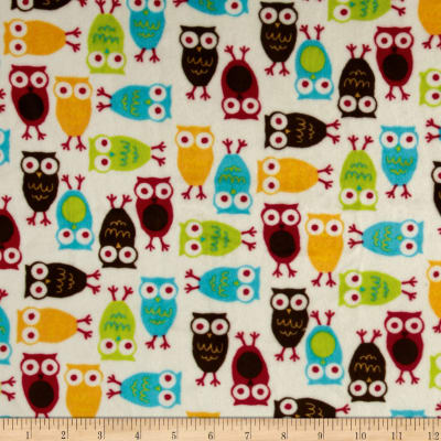 Shannon Kaufman Minky Cuddle Night Owl Red/Mango