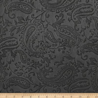 Shannon Minky Embossed Paisley Cuddle Charcoal