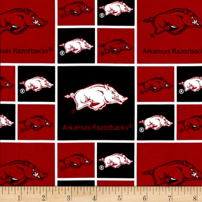 Collegiate Cotton Broadcloth University of Arkansas Blocks