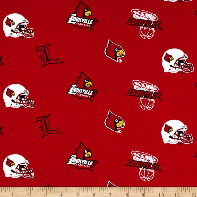 Collegiate Cotton Broadcloth University of Louisville Red