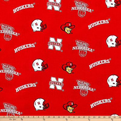 Collegiate Cotton Broadcloth University of Nebraska Cornhuskers