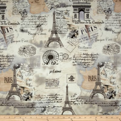 Timeless Treasures Letters From Paris Paris Map Cream