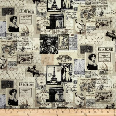 Timeless Treasures Letters from Paris Paris Map Collage Cream