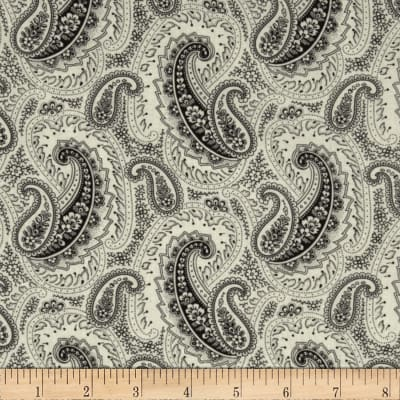 Timeless Treasures Letters from Paris Paisley Black