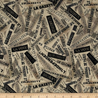 Timeless Treasures Letters from Paris Words Linen