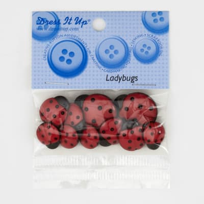 Dress It Up Embellishment Buttons  Ladybugs