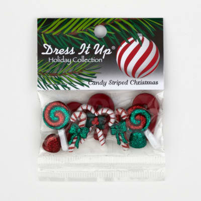 Dress It Up Embellishment Buttons  Candy Striped Christmas