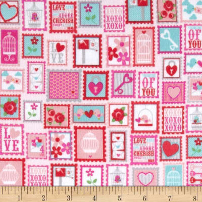 Riley Blake Lovey Dovey Flannel Stamps Red