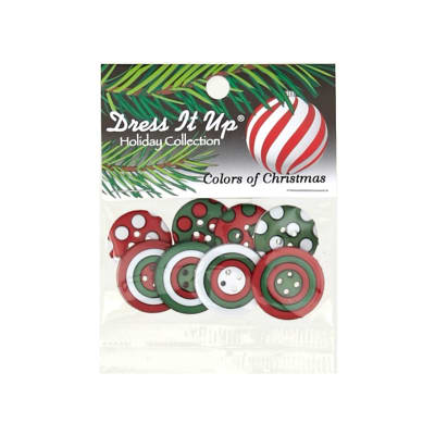 Dress It Up Embellishment Buttons  Colors Of Christmas