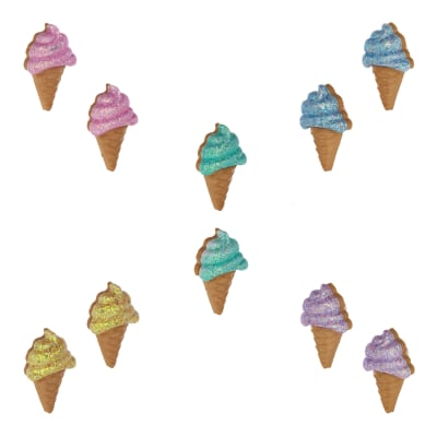 Dress It Up Embellishment Buttons  Glitter Ice Cream Cones