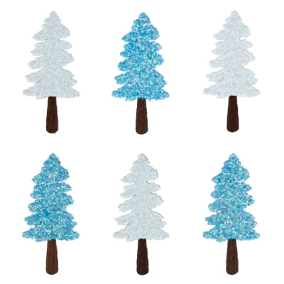 Dress It Up Embellishment Buttons  White/Blue Evergreens