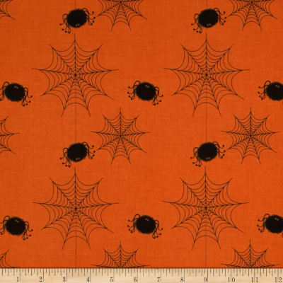 Riley Blake Holiday Spider Webs Orange