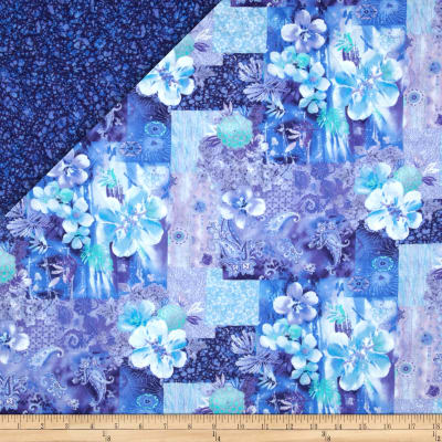 Lagoon Double Faced Quilted Floral Paisley Blue/Aqua