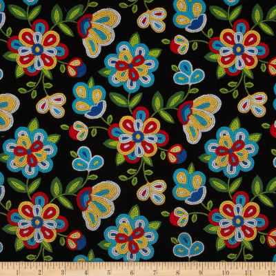 Tucson Beaded Floral Black Discount Designer Fabric