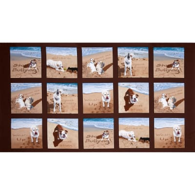 Sand Scribbles Small Dogs Panel Brown