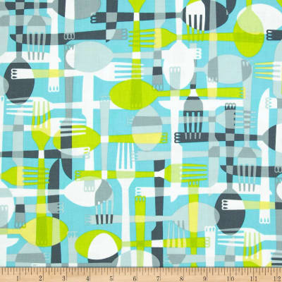 Kanvas Toss & Serve Utensils Aqua/Grey