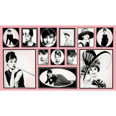 "Hollywood Icons Audrey Blocks 24"" Panel Pink"