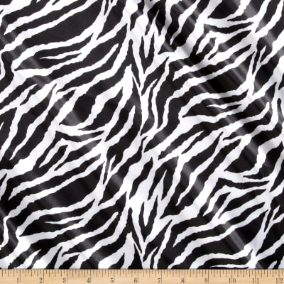 Charmeuse Satin Baby Zebra Black/White
