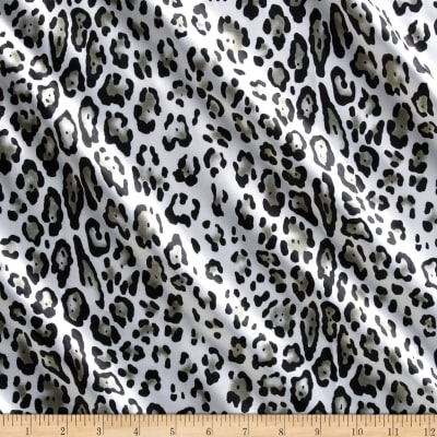 Charmeuse Satin Baby Leopard Silver