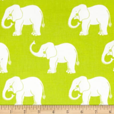 Trunk Show Elephants Green & White