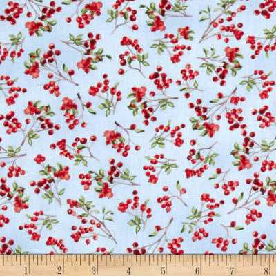 Winter Cardinals Berries Light Blue