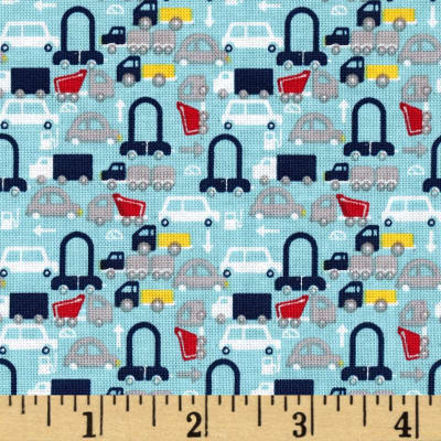 Riley Blake Holiday Banners 2 Boys Cars Aqua