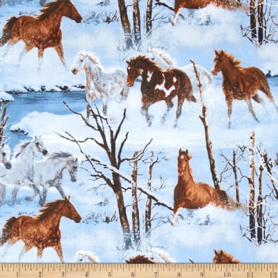 Wild Wings Approaching Storm Scenic Horses Blue