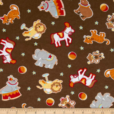 Flannel Circus Animals Brown