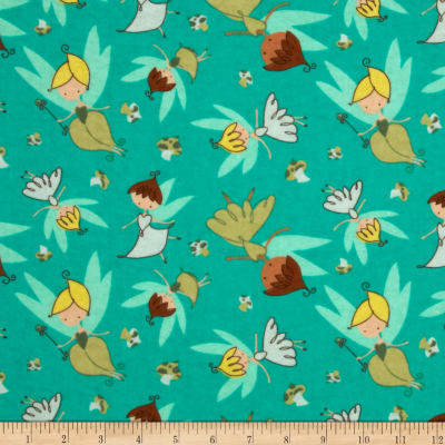 Flannel Tossed Fairies Aqua
