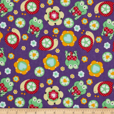 Flannel Frogs & Snails Deep Lavender