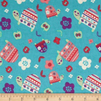 Flannel Turtles Turquoise