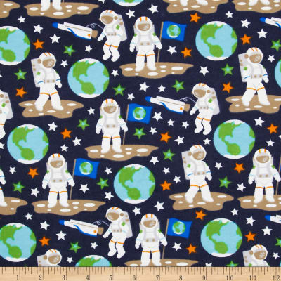 Flannel Glow in the Dark Astronauts Black